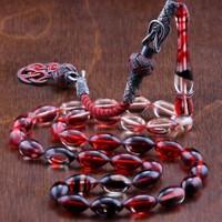 Tesbihcibaba Kazaz Kamçılı Kızıl Sıkma Kehribar Tesbih 594