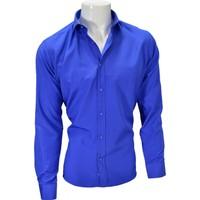 Megaldi Erkek Gömlek Armürlü Saks Mavi Slim Fit 30250