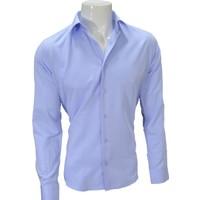 Megaldi Erkek Gömlek Armürlü Açık Mavi Slim Fit 30253