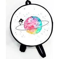 Köstebek Satürn Üzerinde Yürüyen Kız Yuvarlak Sırt Çantası