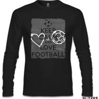 Lord T-shirt Keep Calm And Love Football Siyah Erkek Sweatshirt