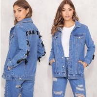 Modamarka-Shop Kadın Kot Ceket %100 Pamuk Denim Kot Mont Mavi