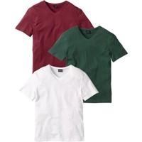 """bonprix Kırmızı V Yaka T-Shirt (3""""Lü Paket) 34-54 Beden"""