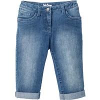 John Baner Jeanswear Kız Çocuk Mavi Paçaları Katlı Kapri Jean Pantolon