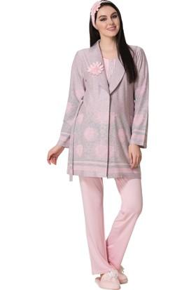 Şık Mecit 1606 Jakarlı Hamile Lohusa Üçlü Pijama Takım
