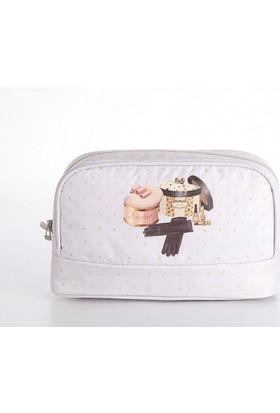Madame Coco Baskılı Makyaj Çantası Elips 28 x 17 x 8cm
