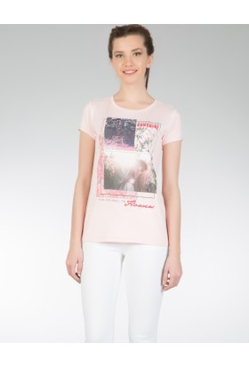 Colin's Pembe Kadın Kısa Kollu T-Shirt