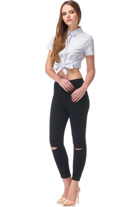 Major Yüksek Bel Diz Yırtık Bayan Kot Pantolon Full Likralı Jeans