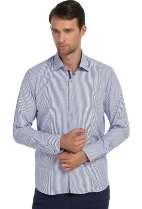 Comienzo Uzun Kol Çizgili Slim Fit Klasik Gömlek 40520