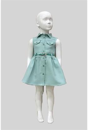 Varol Kids Kareli Kız Çocuk Elbisesi Yeşil 1 - 5 Yaş