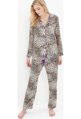 Koton Kadın Desenli Pijama Kahverengi