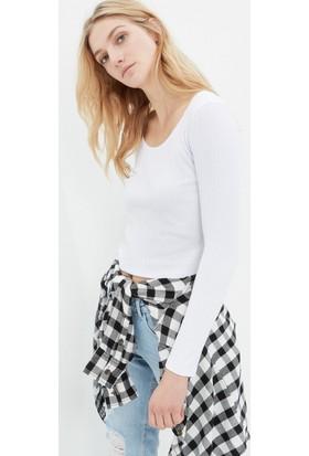 Koton Kadın Uzun Kol Sweatshirt Beyaz