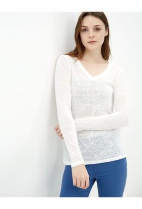 Koton Kadın V Yaka Sweatshirt Beyaz