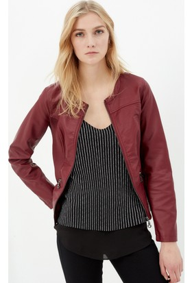 Koton Kadın Deri Görünümlü Ceket Bordo