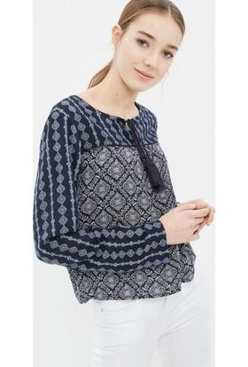Koton Kadın Desenli Bluz Lacivert