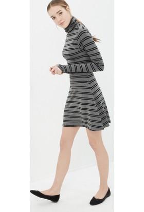 Koton Kadın Çizgili Elbise Gri