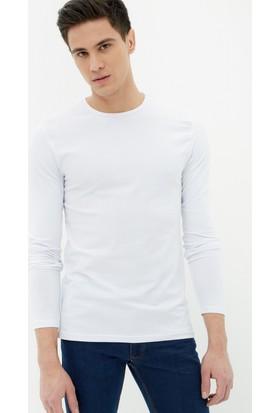 Koton Erkek Bisiklet Yaka Sweatshirt Beyaz