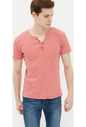 Koton Erkek Butto Detaylı T-Shirt Mercan