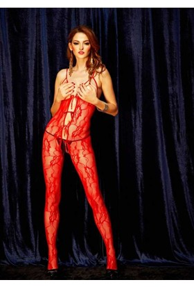 Missvera 0476 Fantazi Kırmızı Vücut Çorabı L