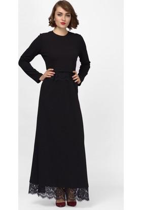 İroni Dantel Detaylı Siyah Uzun Elbise