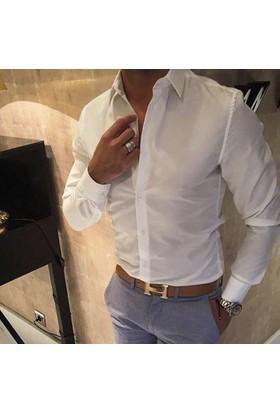 Oksit Düz Slim Fit Oxford Gömlek - Beyaz