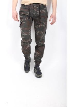 Oksit Paçası Ve Beli Lastikli Bağcıklı Erkek Kot Kargo Pantolon - K101