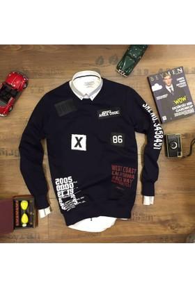 Oksit Station Service Code Slim Fit Sweatshirt - Siyah