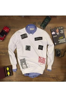 Oksit Station Service Code Slim Fit Sweatshirt - Beyaz
