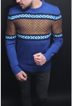 Oksit Riva 5010 Slim Fit Yün Kazak - Sax Mavi