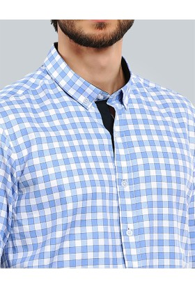 Tudors Dar Kesim Gömlek - Açık Mavi Cotton Oxford Check