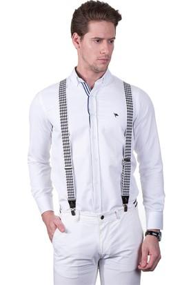 Tudors Beyaz Pantolon Askısı Siyah Desenli