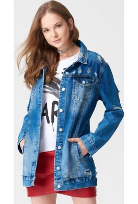 Dilvin Kadın 6298 Yırtıklı Uzun Boyfriend Kot Ceket Mavi