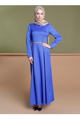 Taş Detaylı Elbise - Saks - Puane