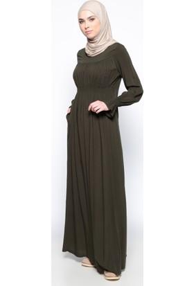 Beli Lastikli Elbise - Haki - Ginezza