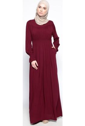 Beli Lastikli Elbise - Bordo - Ginezza