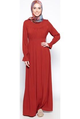 Beli Lastikli Elbise - Kiremit - Ginezza
