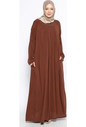 Drop Baskılı Elbise - Kahve - Ginezza