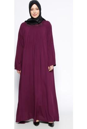 Drop Baskılı Elbise - Mürdüm - Ginezza