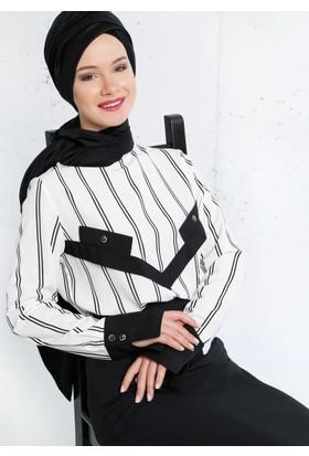 Çizgili Bluz - Siyah Beyaz - Refka