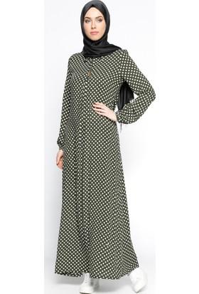 Puantiyeli Elbise - Haki - Ginezza
