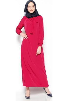 Yakası Büzgülü Elbise - Vişne - Bwest