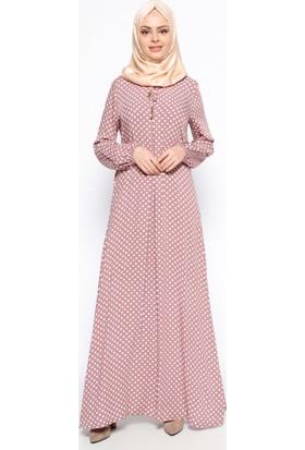 Puantiyeli Elbise - Pudra - Ginezza