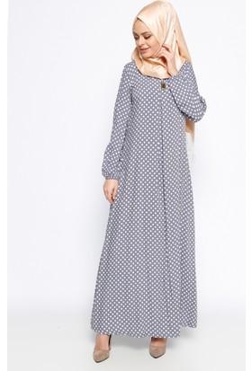Puantiyeli Elbise - Gri - Ginezza