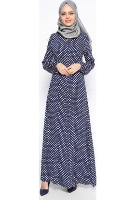 Puantiyeli Elbise - Lacivert - Ginezza