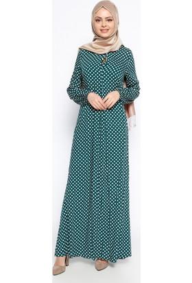 Puantiyeli Elbise - Yeşil - Ginezza