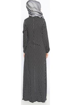 Puantiyeli Elbise - Siyah - Ginezza