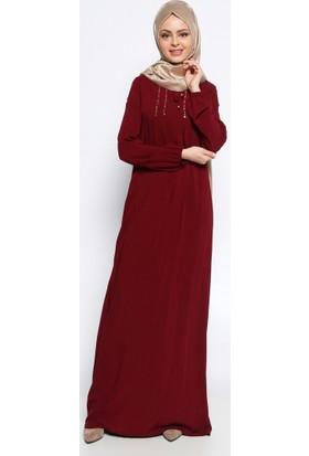 Drop Baskı Detaylı Elbise - Bordo - Ginezza