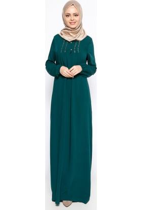 Drop Baskı Detaylı Elbise - Yeşil - Ginezza
