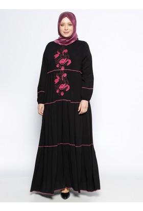 Nakışlı Elbise - Siyah Fuşya - Ginezza