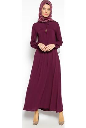 Pile Detaylı Elbise - Mürdüm - Ginezza